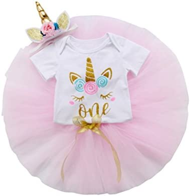 3x Baby Girls Crown Romper Bodysuit Tutu Skirt 1st Birthday Outfit Headband Set