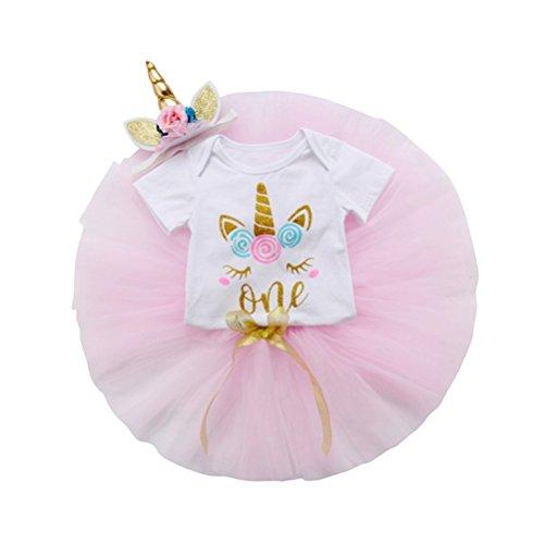 3Pcs Unicorn Baby Girls 1st Birthday Tutu Outfits Romper+Tulle Skirt Dress+Flower Headbands Clothes Set 12-18 Months
