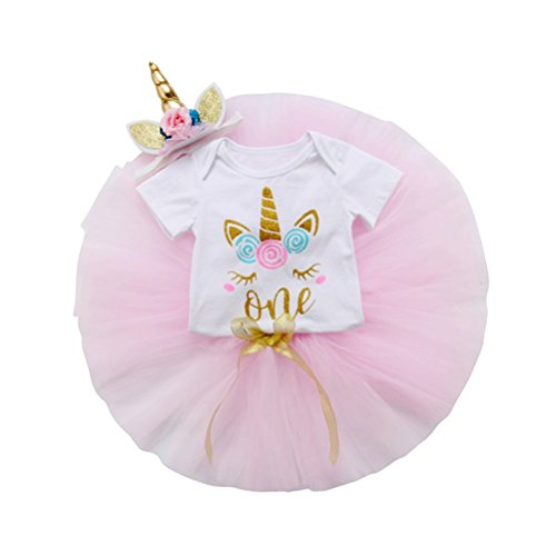 3Pcs Unicorn Baby Girls 1st Birthday Outfit Newborn Onesie Romper+Tutu Skirts Dress+Horn Headbands Clothes Set 18-24 Months