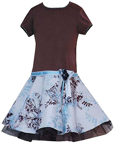 Rare Editions Little Girls 2T-6X Turquoise Brown Floral Toile Print Knit Drop Waist Dress (6, Brown)