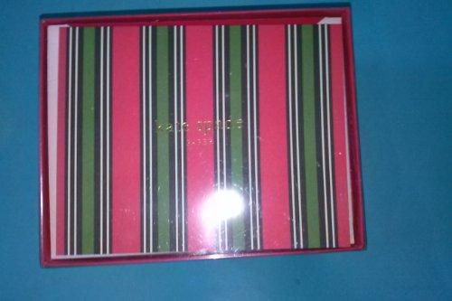 Crane & Co kate spade TF6634 Shirting Striped Holdiay Card 10 Notes 10 Envelopes 4 5/8'' x 6 1/8'' 100% Cotton Paper Inside: Ho Ho Ho Red-Lined Envelopes by Kate Spade New York