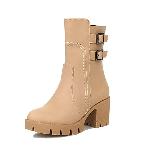 Soft Solid Material Apricot AgooLar Heels Closed Zipper Women's Boots Toe Round Kitten q880tPw