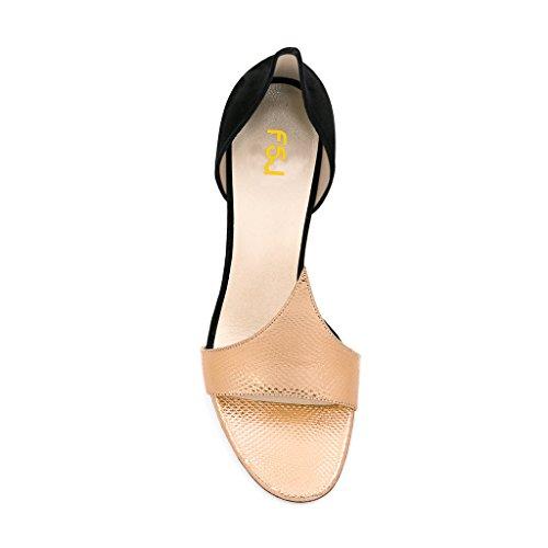 Fsj Donna Versatile Dorsay Sandali Con Tacco Alto Sandali Open Toe Scarpe Da Sera Taglia 4-15 Us Gold