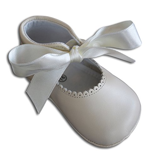 Carriage Boutique Baby Girls Dressy Crib Shoes - Beige Leather w/Satin Ribbon, Size 20 EU/5 US Infant