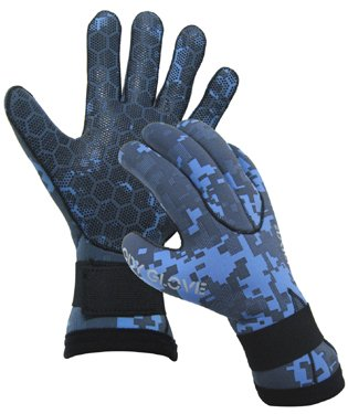 Body Glove Free Dive 3mm Camouflage 5 Finger Gloves with Polyurethane Palm (Mens Lg / Womens XL) ()