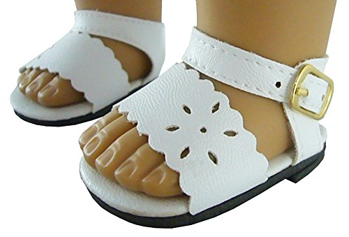 Beautiful Scalloped - Doll Clothes Sew Beautiful White Scalloped Edge Sandals for 18