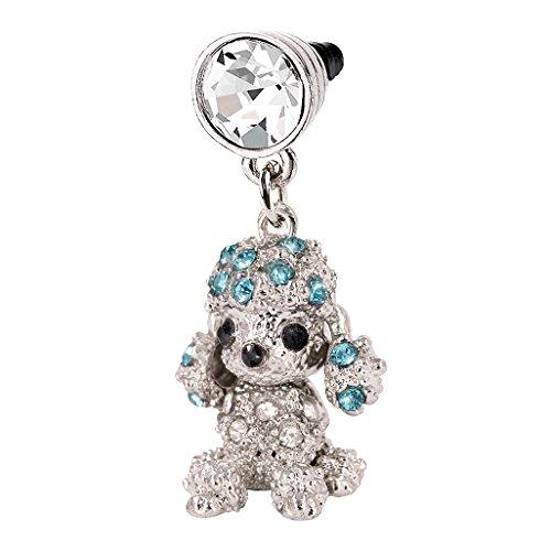 Blue Crystal Poodle Dog Phone Charm Anti Dust Plug in Monnel Velvet Bag MP483