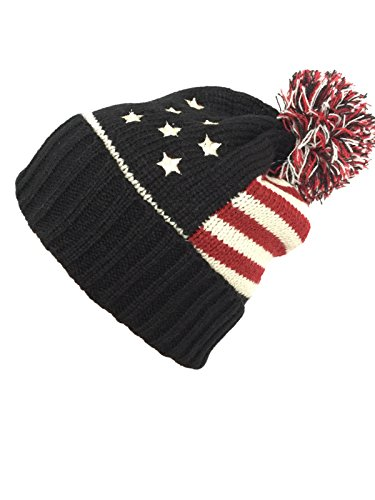 Ny Fashion (NY GOLDEN FASHION Women Men American Flag Cuffed Knit USA Flag Patriotic Beanie With Pom Pom Winter Hat (Black/Red Touch))