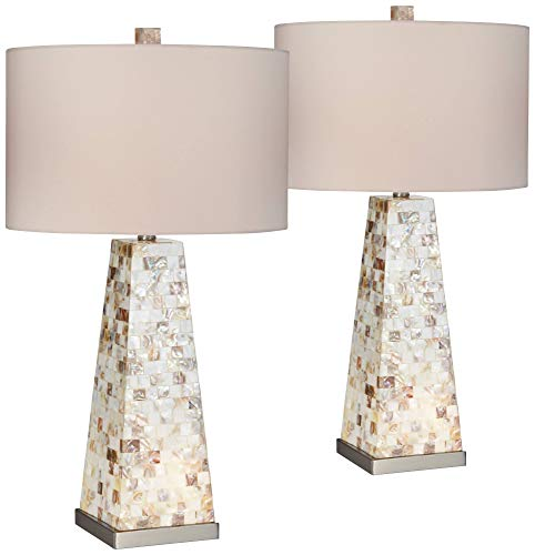 Lorin Coastal Table Lamps Set of 2 with Nightlight Mother of Pearl Handmade White Drum Shade for Living Room Bedroom - Possini Euro Design (Lamp Pearl Shade Mother Of)
