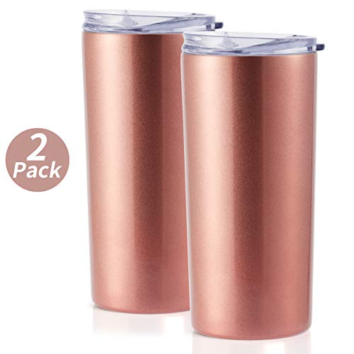 ONEB 2pack Travel Tumbler with Lid 14oz | Double Wall Vacuum Stainless Steel for Coffee, Tea, Beverages (Rose gold, 2pack)