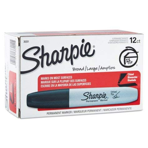Sharpie 38201 Chisel Tip Permanent Markers, Black; 2-Packs of 12 Markers each for a Total of 24 Markers (Large Chisel Tip Permanent Marker)