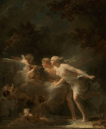 Jean-Honore Fragonard - The Fountain of Love, Size 20x24 inch, Gallery Wrapped Canvas Art Print Wall décor