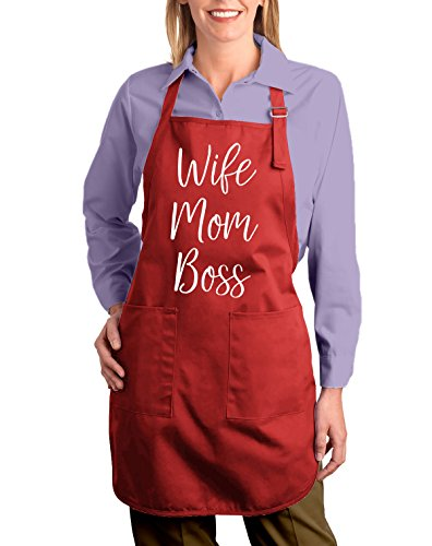- Shop4Ever Wife Mom Boss Adjustable Strap Cooking Kitchen Apron with Pockets (Red)