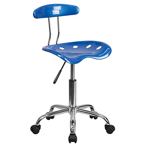 MFO Vibrant Bright Blue and Chrome Computer Task Chair with Tractor Seat