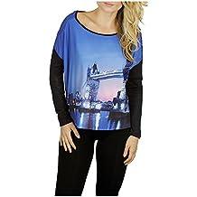 Kessley Women's London Bridge Print Long-Sleeve Top With Solid Burnout Fabric Back High-Low Shirt
