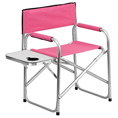 Flash Furniture Aluminum Folding Camping Chair With Table And Drink Holder  In Pink