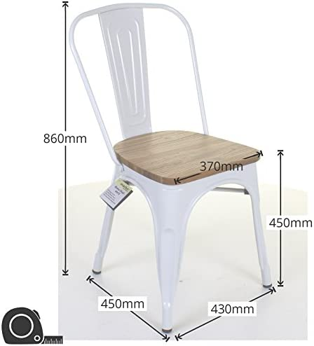 Marko Furniture Set of 4 White Metal Industrial Dining Chair Kitchen Bistro Cafe Vintage Seat