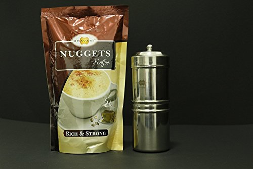 Bhavani Nuggets Authentic Filter Coffee powder 250g + Traditional Drip filter coffee maker size 1 - 3 cups