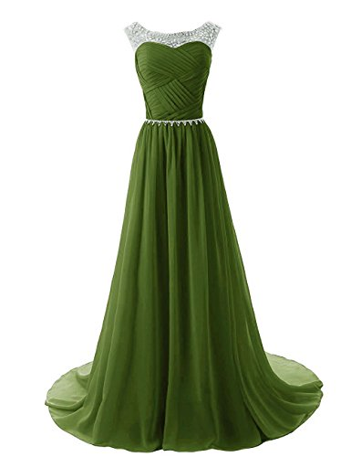 (Women's Chiffon Long Prom Evening Dress Gown Bridesmaid Dresses for Wedding Olive US24W)