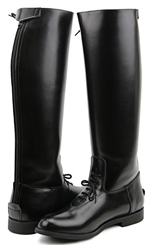 FAMMZ MB2 Men's Man Motorcycle Police Patrol Leather Tall Knee High Riding Boots (9.5 2Plus Calf, Black)