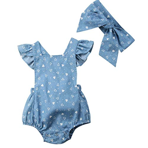 MOGOV Summer Toddlers Infant Baby Kids Hearts Printed Romper+Headband Casual Holiday Clothes Set Outfits Blue]()