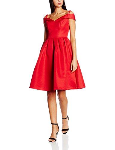 Chi Chi London Fold-Over Bardot Midi, Vestido para Mujer Rojo (Red)