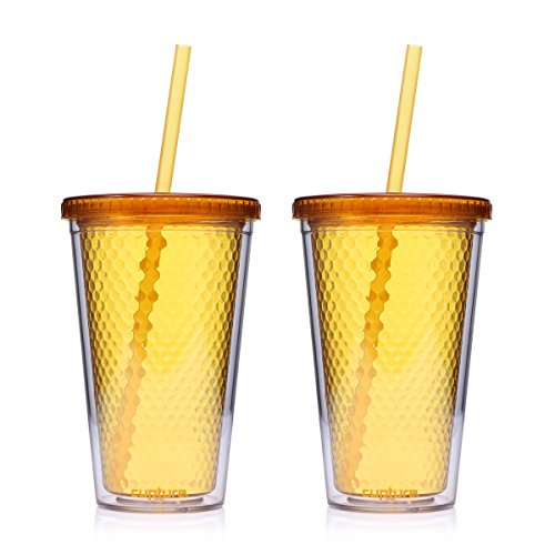 Cupture Beehive Orange/Honey color Insulated Double Wall Tumbler Cups - 16 oz, 2 Pack ()