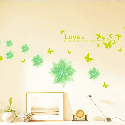 Elfpoeme Flower Wall Decals,Green Flower Butterfly Beautiful Natural Garden Decorative Girls and Babys Living Room Bedroom Wall Stickers Cute DIY Removable Art Sticker Decals Vinyl Large Wall Mural from Elfpoeme
