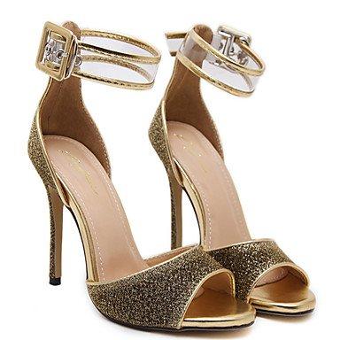 LvYuan Mujer Sandalias PU Verano Lentejuela Tacón Stiletto Dorado Negro 10 - 12 cms Gold