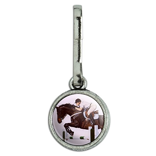 GRAPHICS & MORE Horse Open Stadium Show Jumping Antiqued Charm Clothes Purse Suitcase Backpack Zipper Pull Aid