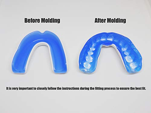 Coollo Sports Boil and Bite Mouth Guard (Youth & Adult) DA Custom Fit Sport Mouthpiece for Football, Hockey, Rugby, Lacrosse, Boxing, MMA (Free Case Included!)