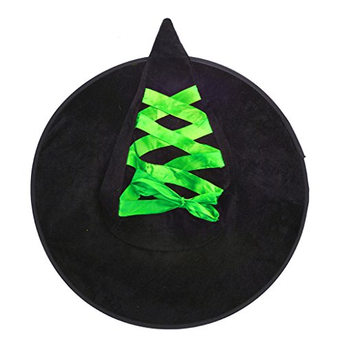 Lux Accessories Black and Lime Green Lace Up Ribbon Halloween Witch Hat (Collection Halloween Movie Scary Village)