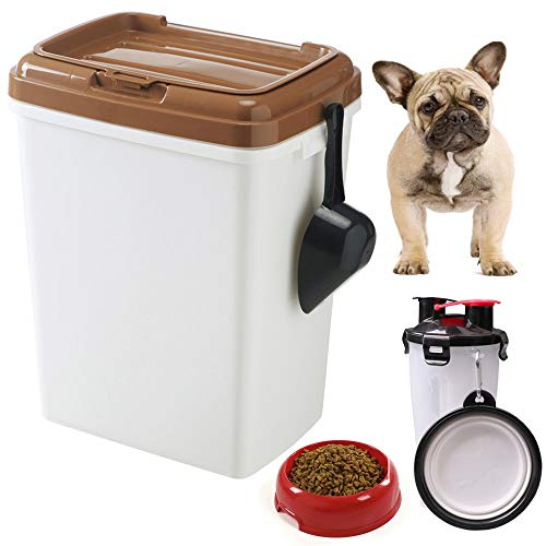 - MineDecor 44lb Dog Food Storage Bins with Rolling Wheels Feed Scoop Large Airtight Pet Food Containers Combo for Cats Birds Portable 2 in 1 Travel Dog Mug