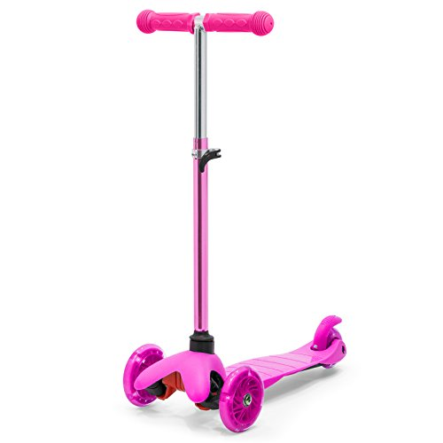 Best Choice Products Kids Mini Kick Scooter w/ Height Adjustable T-Bar (Pink) Scooter W/ 3 Wheels