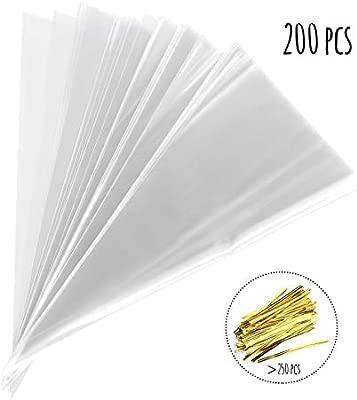 Absofine - 200 Bolsas Transparentes de plástico con Cinta Dorada, para Bodas, cumpleaños, Fiestas de bebé