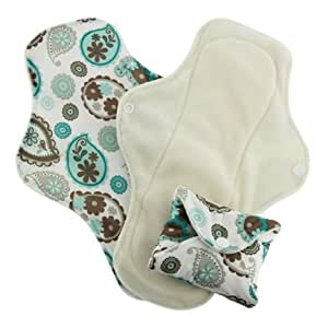Pink Daisy Organic Cotton Washable Feminine Menstrual Pads - 3 Pack (Large, Paisley)