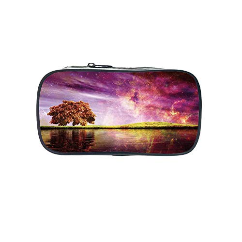 3D Print Design Pen Bag,Magical,Supernatural Sky Scenery with Mystical Northern Solar Theme and Star Clusters Photo,Purple,for Students,Pictures Print Design by iPrint