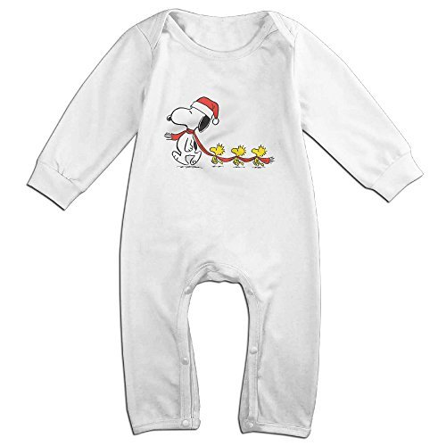 [Cotton Baby Kids Long Sleeve Onesies Toddler Bodysuit White Peanuts Snoopy Woodstock Scarf Canvas Xmas Climbing Clothes] (Premiere Santa Suit)