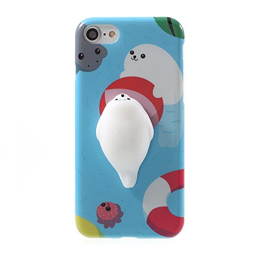 Squishy Cat Case for Asus Zenfone V Live,Polar Bear Sleepy Cat Finger Pinch 3D Silicone Relax Poke Squishy Toys Kawaii Animals TPU Case for Asus Zenfone V Live V500KL 5.0 Inch(Sea Lion)