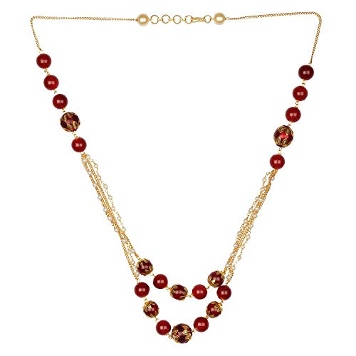Efulgenz Pearl Chain Multi Layered Necklace Indian
