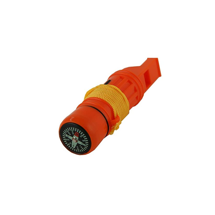 Emergency Zone 5 in 1 Survival Whistle. Compass, Whistle, Water Resistant Container, Signal Mirror, Ferro Rod. Available in 1, 3, 30, and 300 Pack.