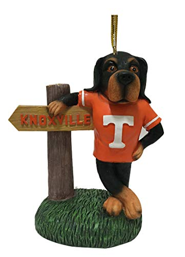 (Tennessee Volunteers Smokey Mascot with Knoxville Sign Ornament)