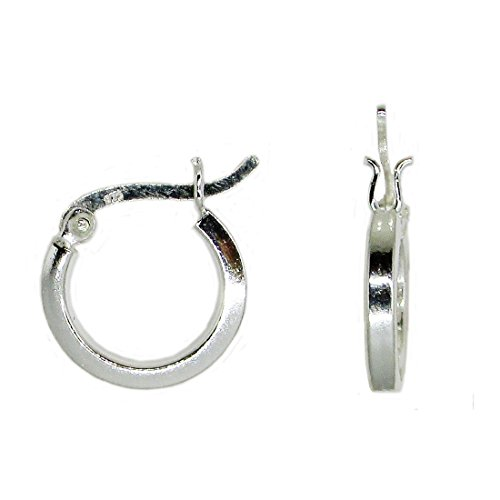 - Sterling Silver Round Hoop Earrings w/Square Tube & Click-Down Clasp, (2mm Tube) (15mm)