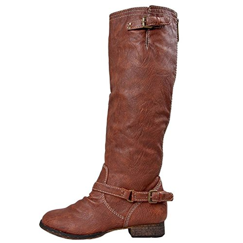 Breckelles 5 11 Leather 5 Vegan Outlaw Calf Round Toe Mid Boots Motorcycle TAN SSBqrgw