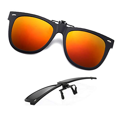 Clip-on Sunglasses Polarized Unisex Anti-Glare Driving Glasses With Flip Up for Prescription Glasses (ORANGE-RED)