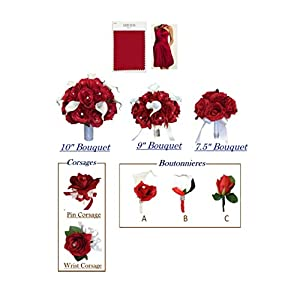 Angel Isabella Build your wedding package-Artificial Flower Bouquet corsage boutonniere rose calla lily Cherry Apple Red wedding theme (Boutonniere-C) 9