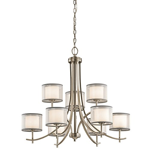 Chandeliers 9 Light with Antique Pewter Finish Steel Candelabra 32 inch 540 Watts Antique Pewter Finish Chandeliers