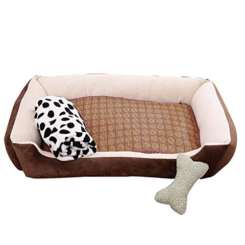 Bed Leopard Chenille - Fleece Pet Dog Bed Soft Cushion Bone Print Large Breed Dog House for Labrador Golden Retriever Winter Spring Dog Mat,Style2Brown,XXL