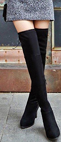 Medio Ginocchio Tacco Con Stivaletti Faux Suede Chunky Nero Sopra Dressy Punta A Easemax Zip Al wBxUqOXpp