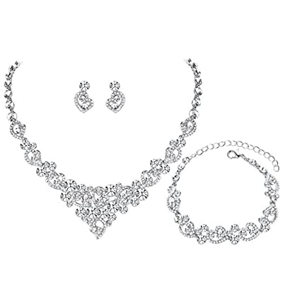 mecresh Women's Silver-tone Crystal Heart Bridal Necklace Set Bracelet Dangle Earrings